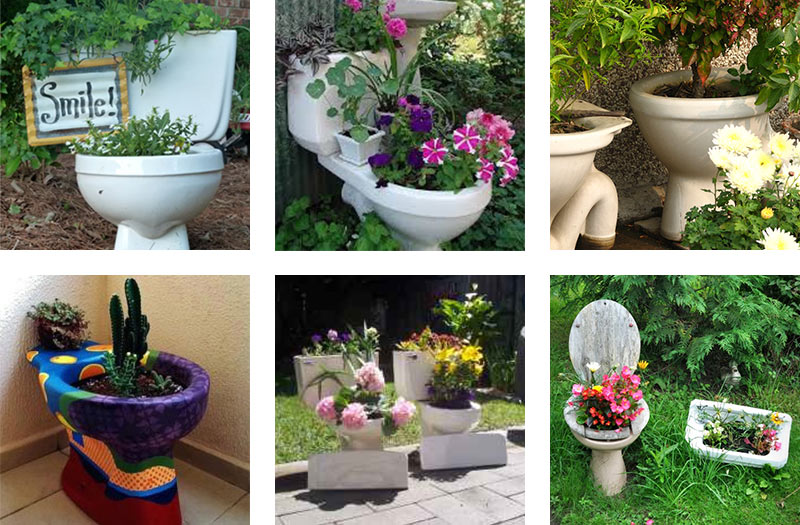 Upcycled garden toilets