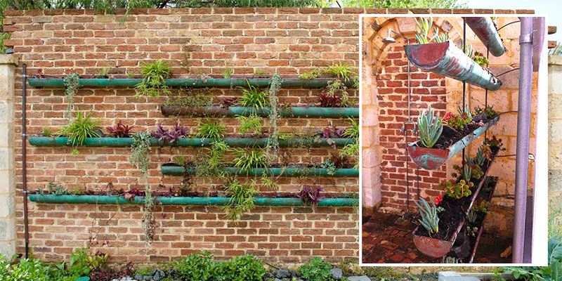 Old gutters upcycled into garden planters