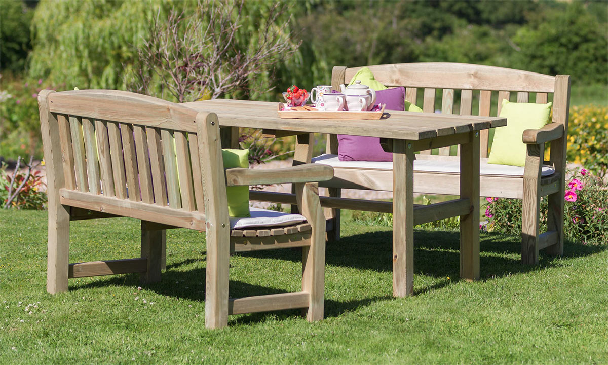 Chunky wooden garden furniture