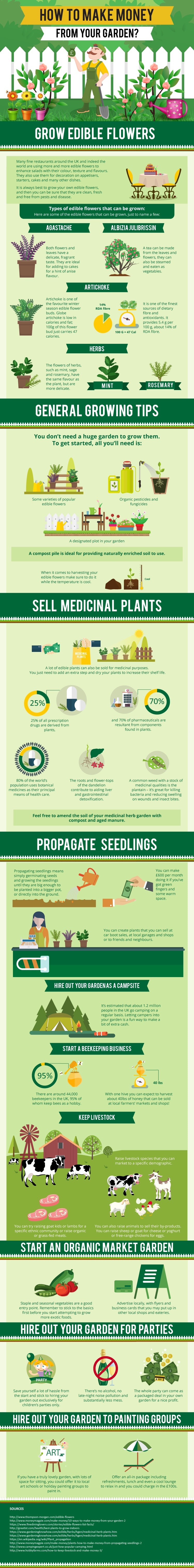 How to make money from your garden - Infographic